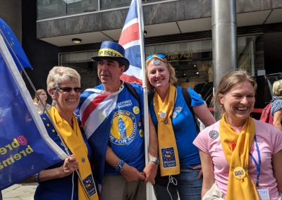 Sue, Elspeth and Carol-Anne Richards with Steve Bray from SODEM