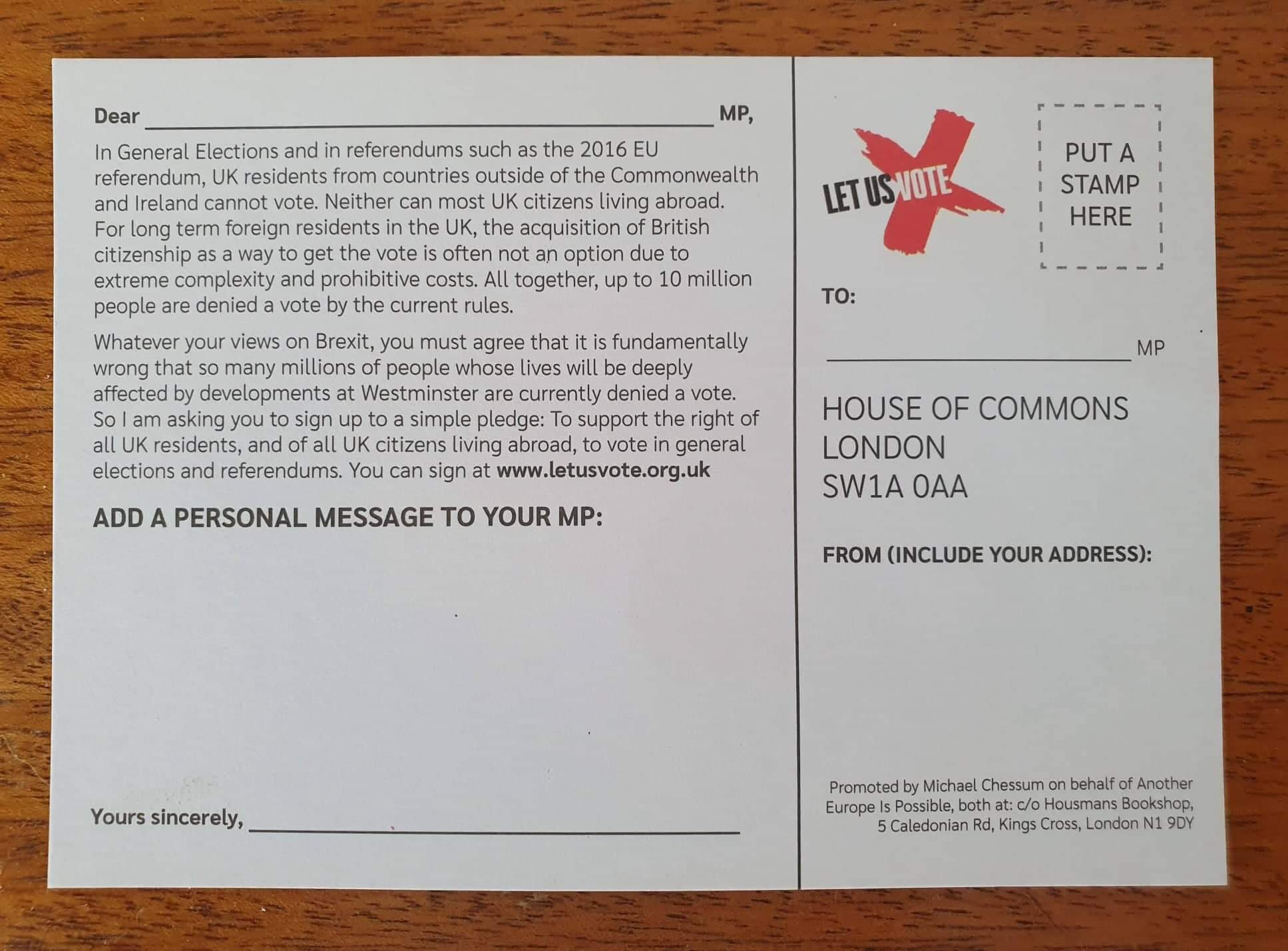 Let us vote postcard