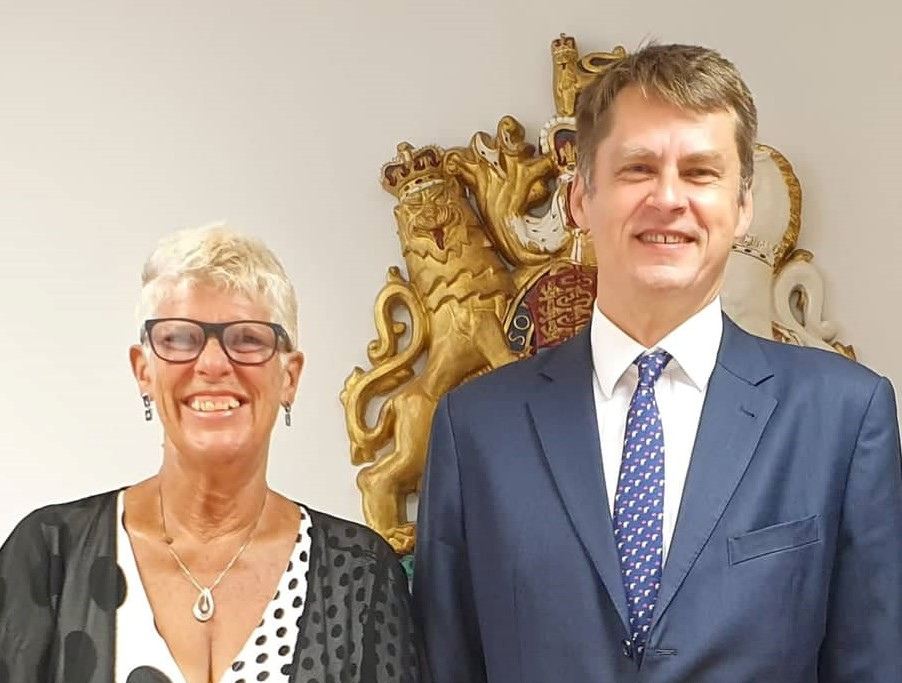 UK Ambassador Hugh Elliott and Sue Wilson